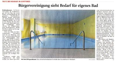 Bürgervereinigung sieht Bedarf für eigenes Bad