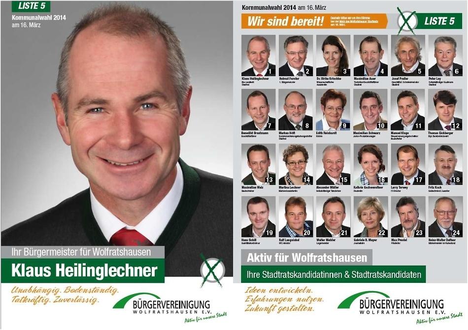 Kommunalwahl 2014 Wolfratshausen Bürgervereinigung