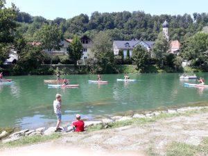 SUP Stand Up Paddlingkurse beim sommerfest der Bürgervereinigung Wolfratshausen e.V.