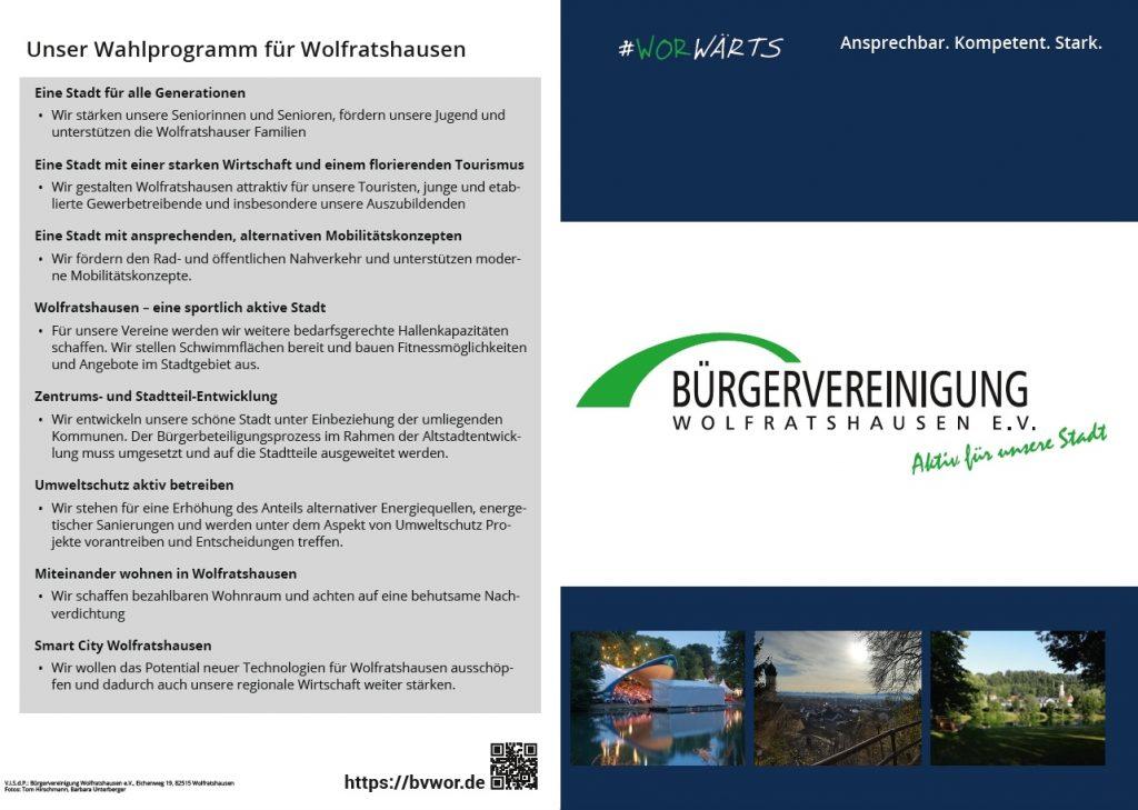 Wahlflyer der Bürgervereinigung Wolfratshausen e. V.